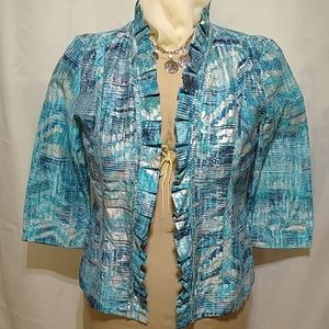 Open Front Chico's Shirt Ruffles Silver Beaded